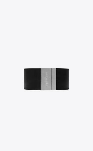 saint laurent id bracelet in smooth leather and metal