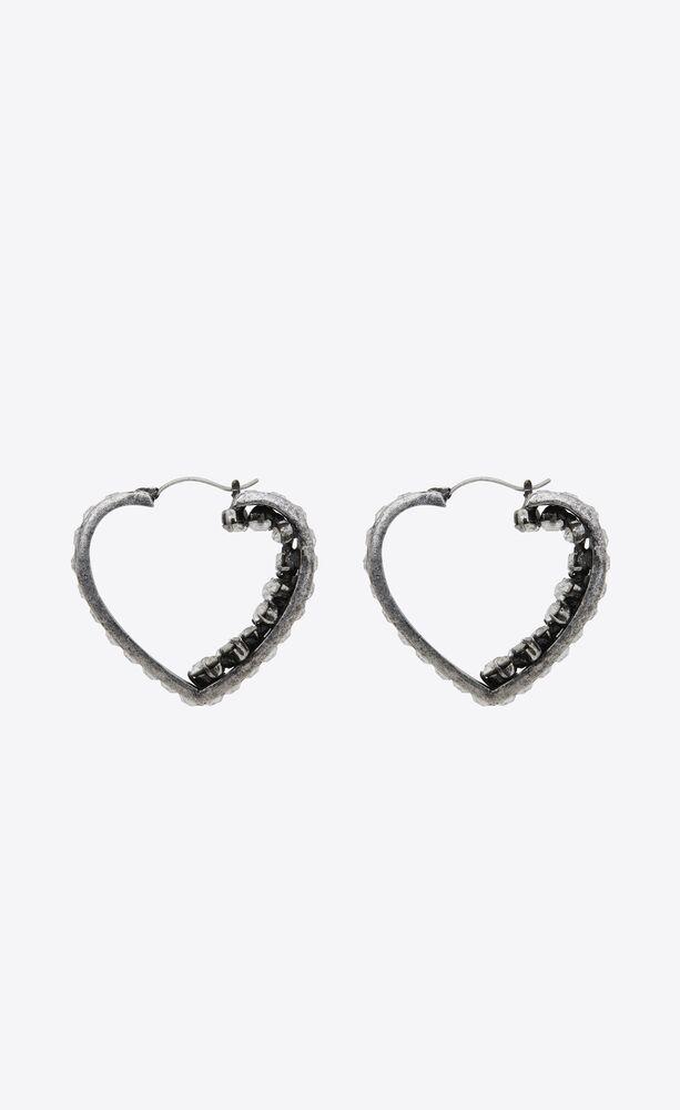 smoking crystal heart hoop earrings in metal