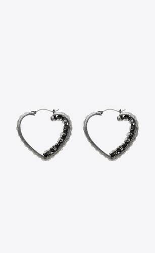smoking crystal heart hoop earrings in metal