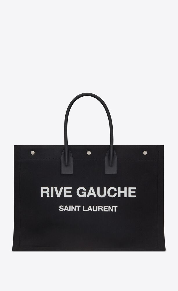 rive gauche tote bag in linen and leather
