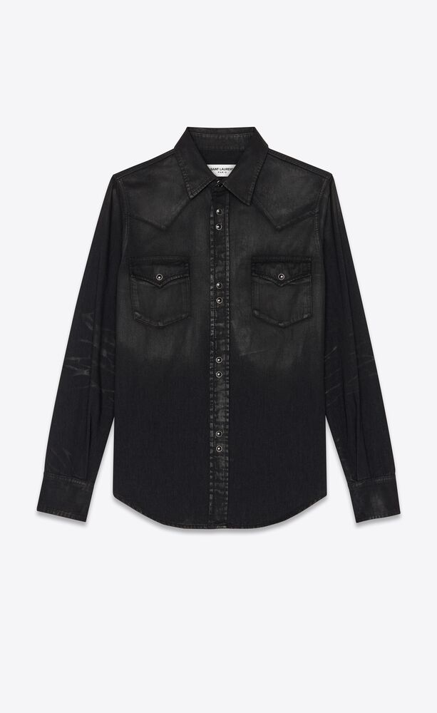 classic western shirt in lightly coated black denim