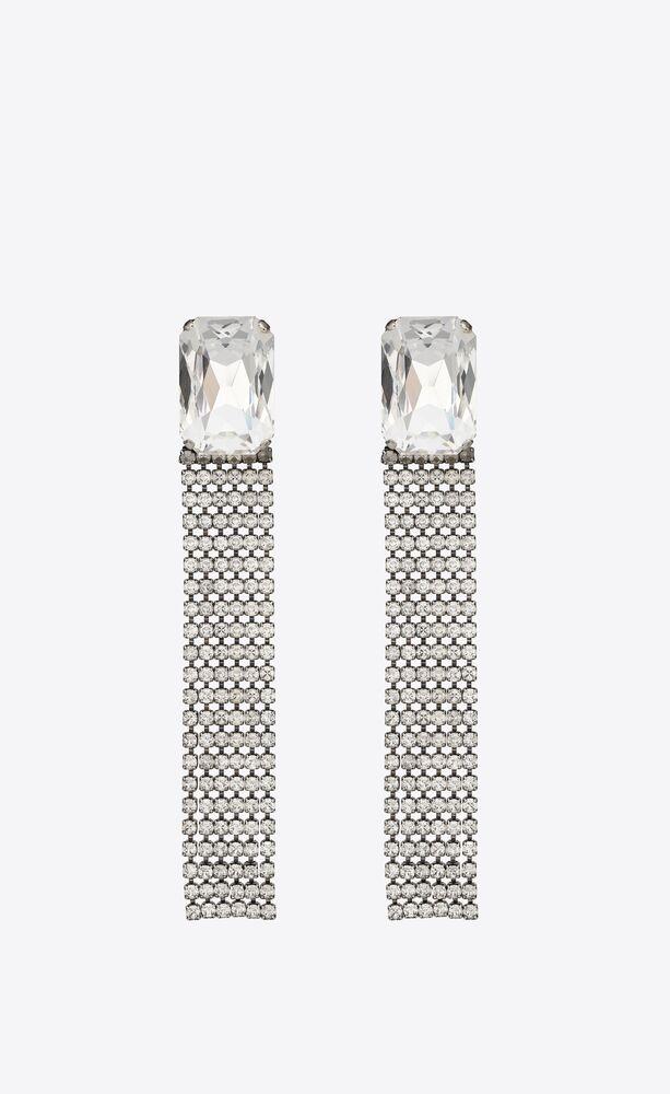 chunky rhinestone earrings in metal