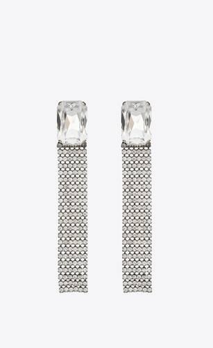boucles d'oreilles en métal et strass oversize