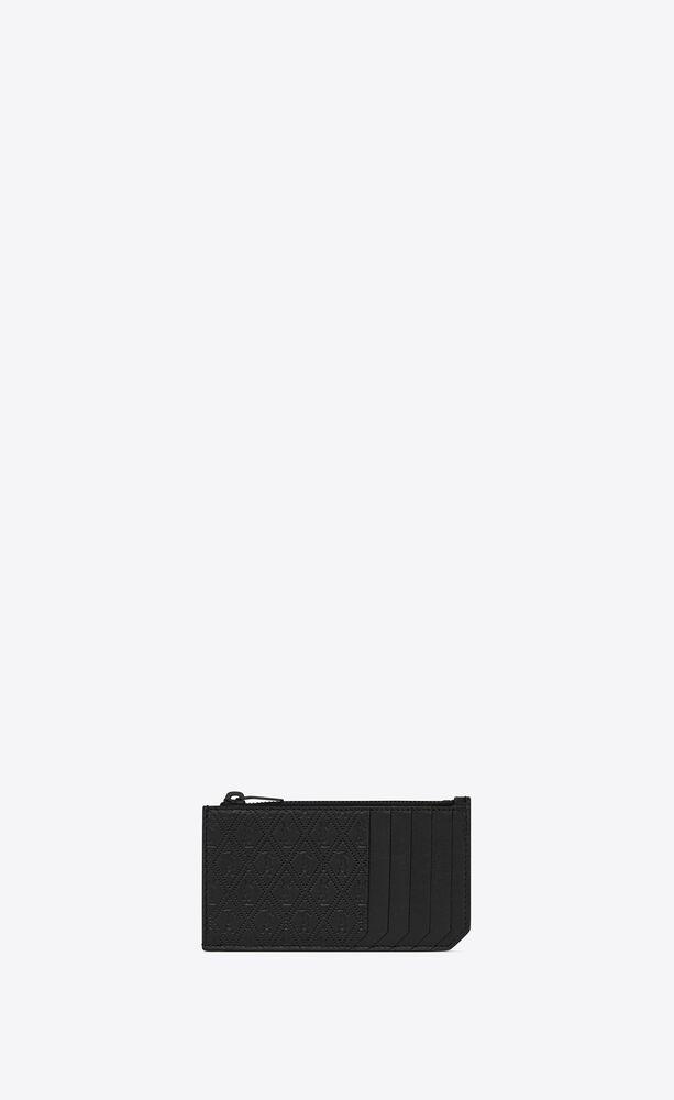 """エンボス加工スムースレザーの """"モノグラムオールオーバー フラグメント"""" ジップカードケース"""