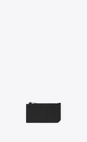 le monogramme all over fragments zip card case in embossed smooth leather