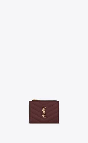 monogram porte-cartes zippé en cuir embossé grain de poudre