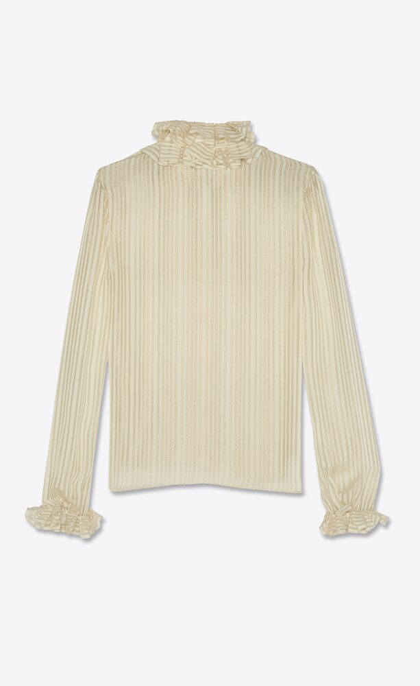ruffled blouse in lamé striped silk
