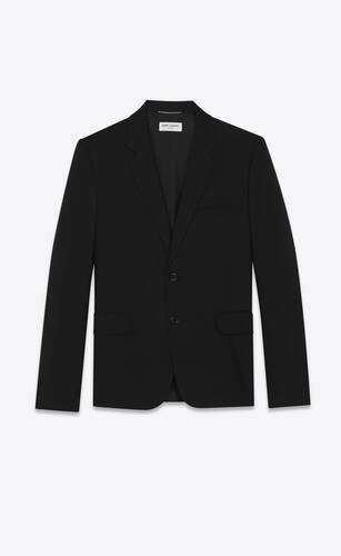 chaqueta con botonadura simple de gabardina saint laurent