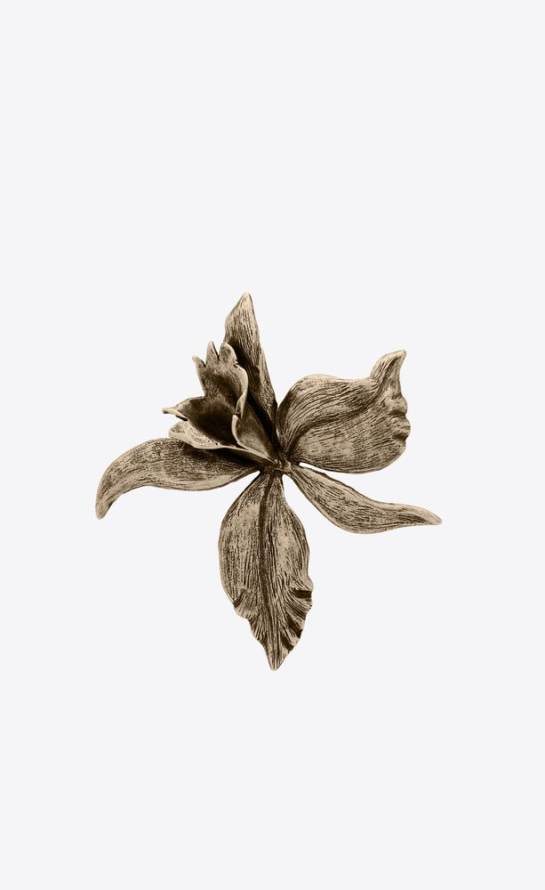 orchid brooch in metal