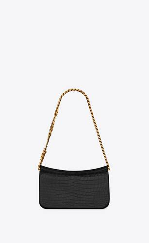 elise shoulder bag in alligator-embossed patent leather