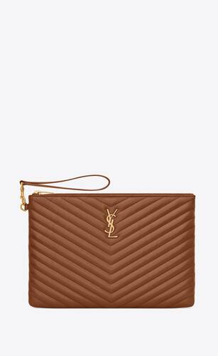 monogram tablet pouch in quilted leather