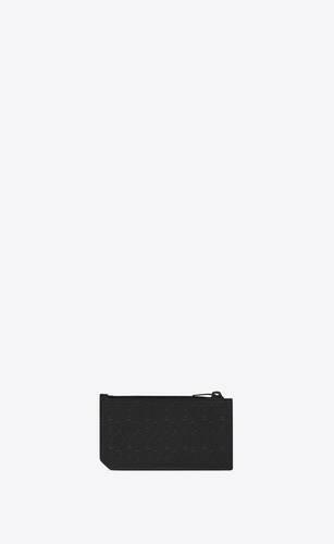 부드러운 엠보스드 가죽 소재의 모노그램 올오버 프라그망 지퍼 카드 케이스