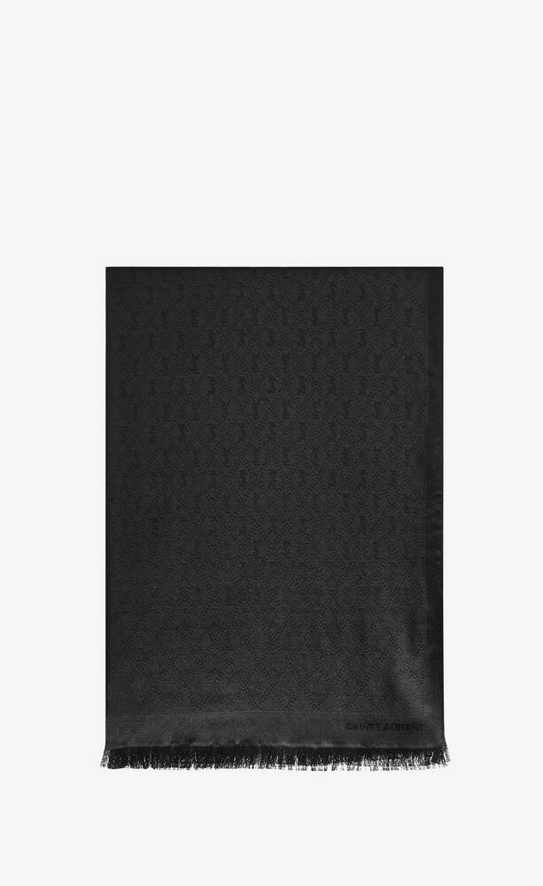 signature saint laurent fringed scarf in silk and wool jacquard