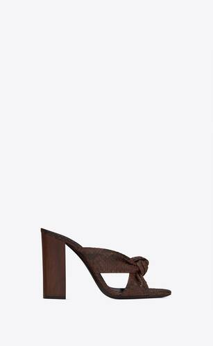 bianca heeled mules in python and wood