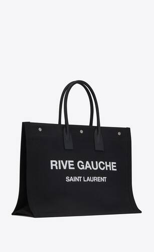 borsa shopping rive gauche in lino e pelle