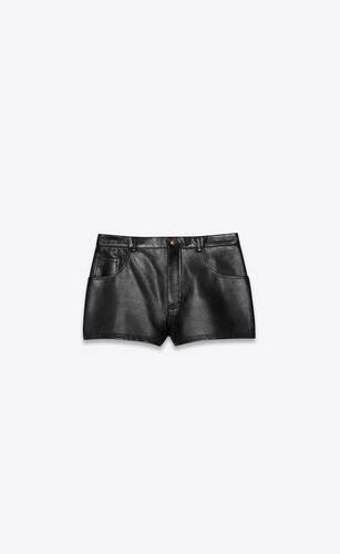 mid-rise shorts in waxed lambskin