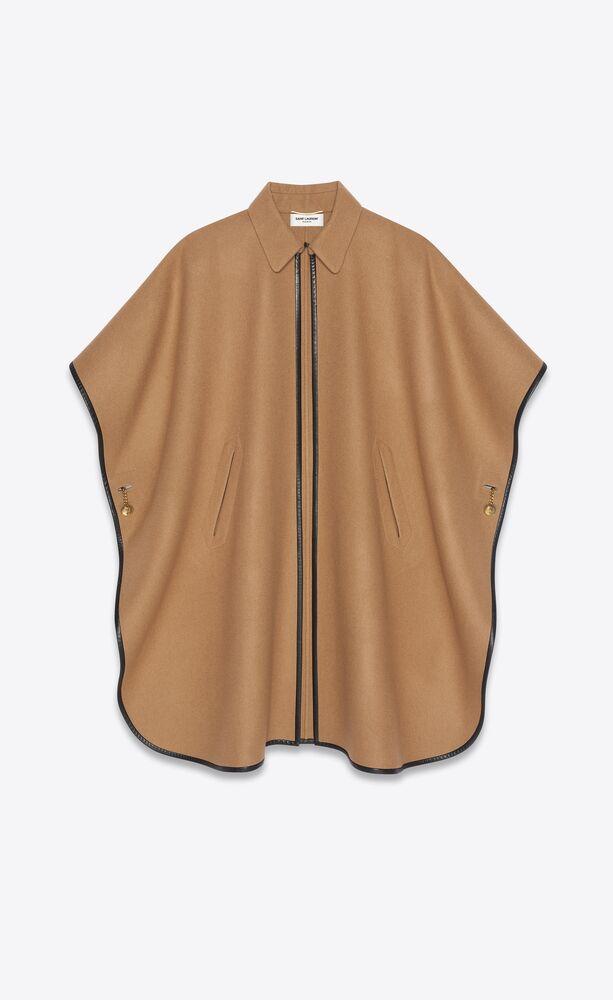 cape en cachemire avec passepoils en cuir