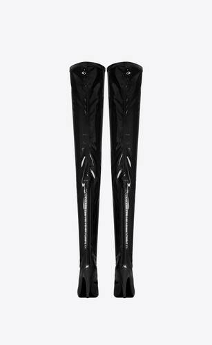 aylah over-the-knee boots in patent stretch canvas