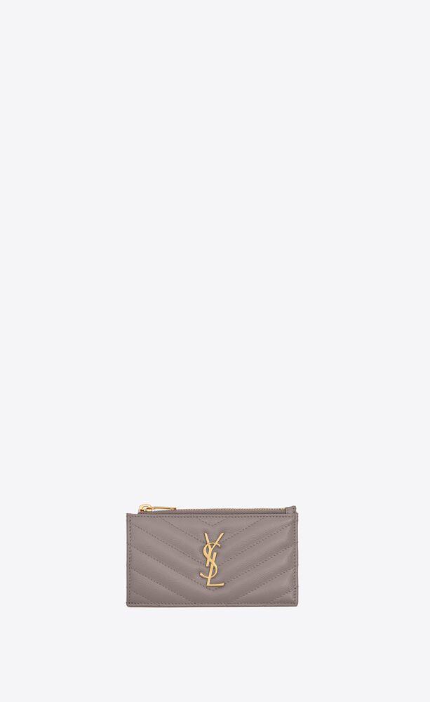 monogram fragments zip card case in grain de poudre embossed leather