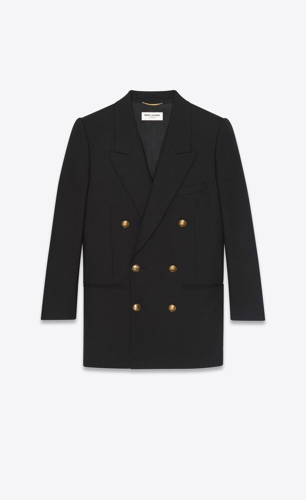 double-breasted long jacket in wool twill