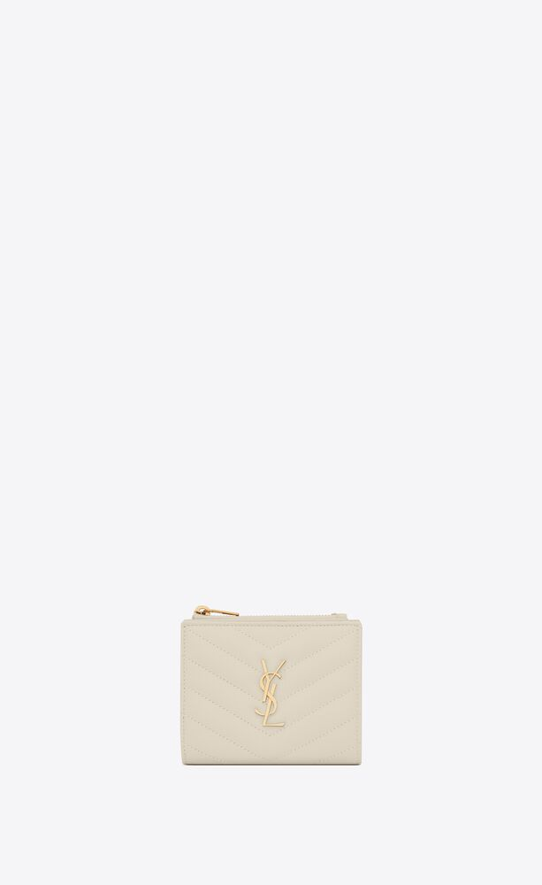 monogram zipped card case in grain de poudre embossed leather