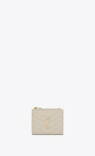 monogram zipped card case in grain de poudre embossed leather