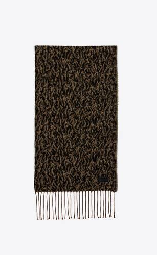 long knitted scarf in camo-print wool
