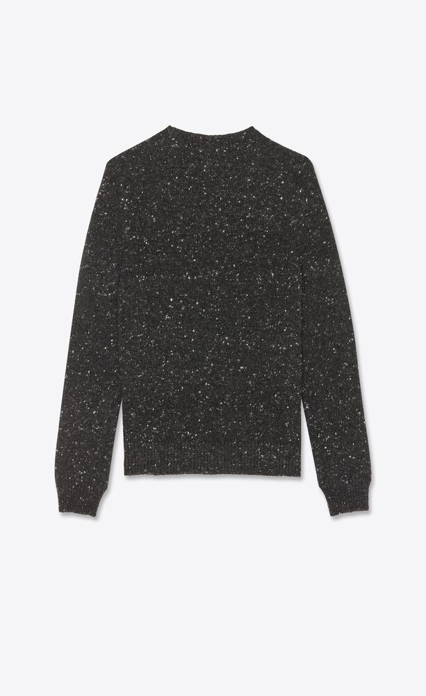 round-neck sweater in flecked wool and cashmere