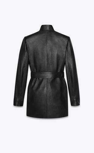 long belted jacket in lambskin