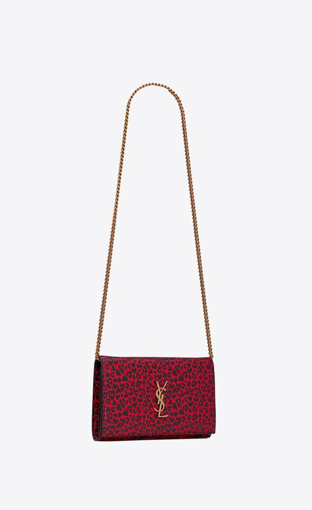 monogram chain wallet in leopard-print leather