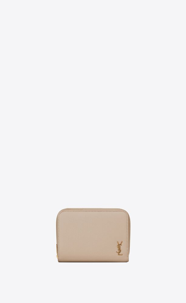 tiny monogram compact zip wallet in grained leather