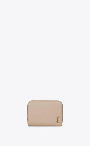 tiny monogram portefeuille compact à fermeture zippée en cuir grainé