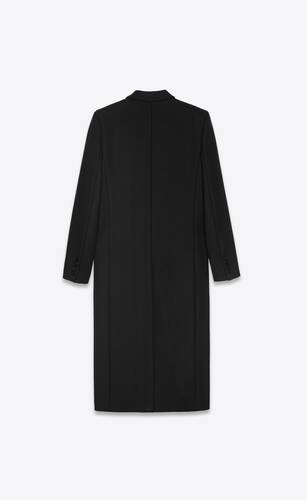 long buttoned coat in wool twill