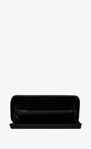 tiny monogram zip-around wallet in matte leather