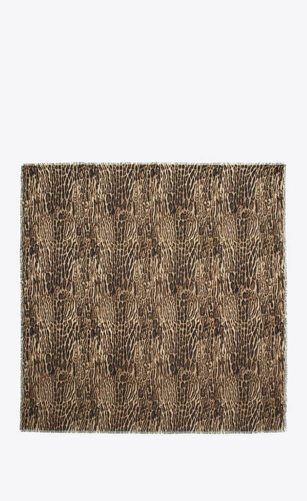 large square scarf in ocelot-print wool twill