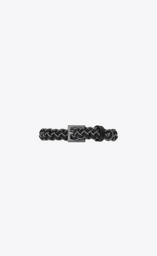 braided belt bracelet in leather and metal