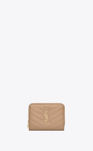 cartera compacta monogram con cremallera integral de piel repujada grain de poudre