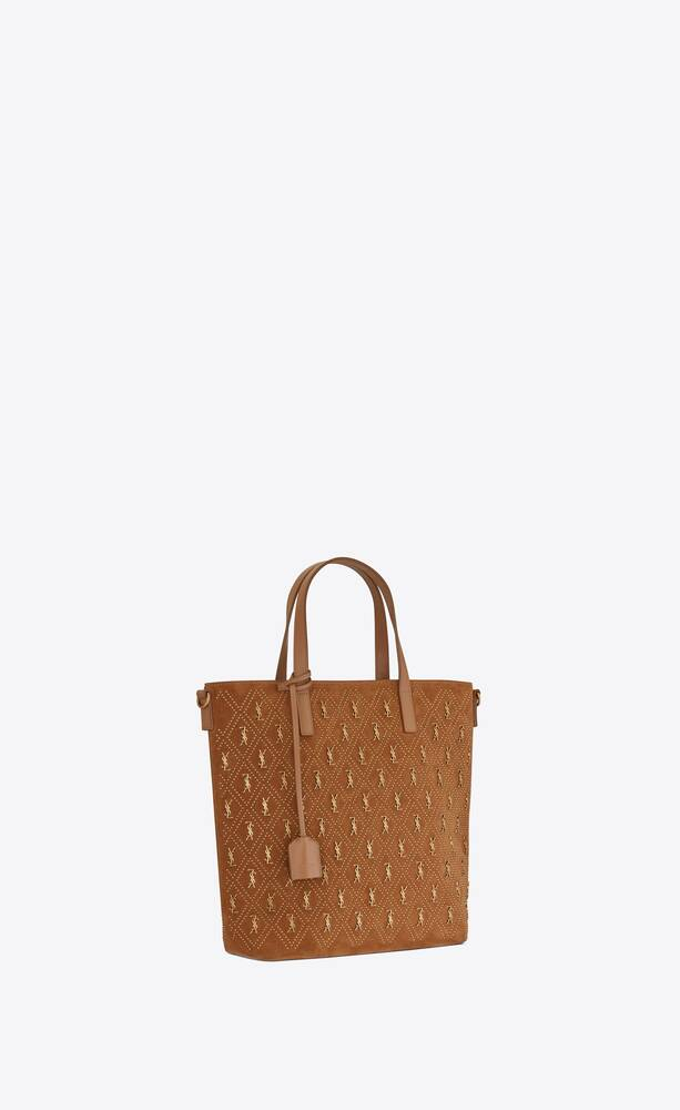 le monogramme saint laurent n/s toy shopping bag in studded suede