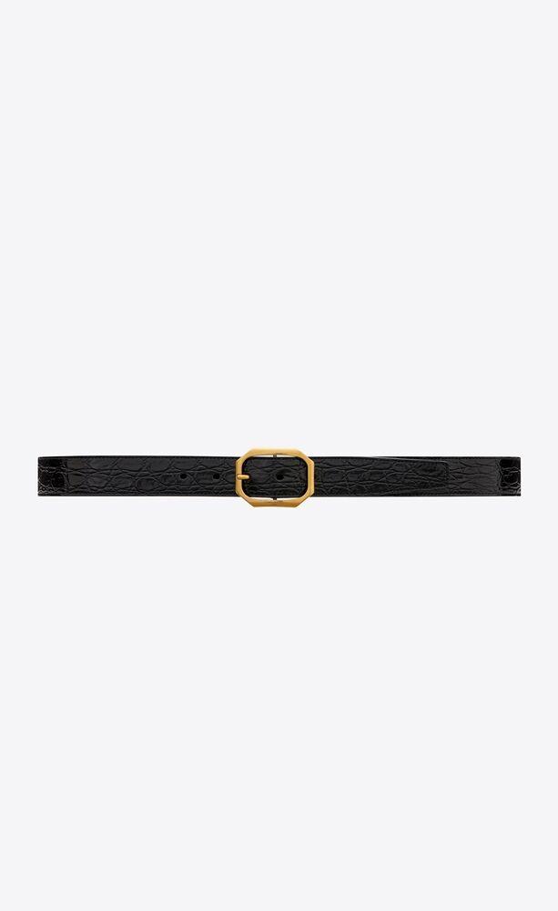 frame ceinture à boucle en cuir embossé crocodile