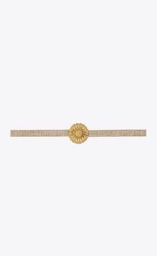 sun chain belt in metal and rhinestones