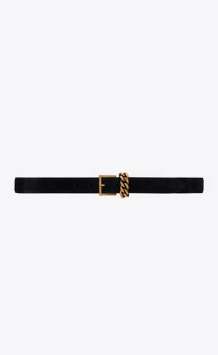 chain-loop narrow belt with square buckle in suede