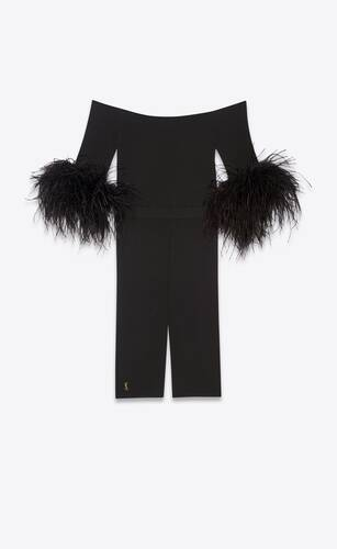 jumpsuit in stretch viscose and ostrich feathers