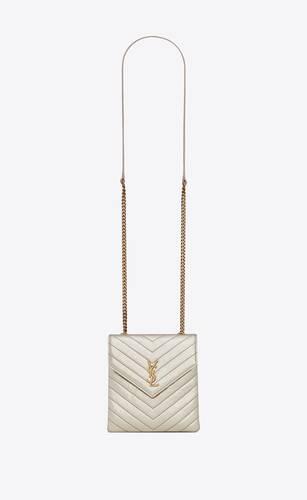 tasche mit doppeltem überschlag aus gekräuseltem lamé-leder