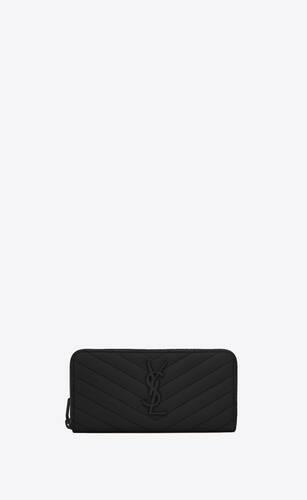 portafogli  nero in pelle matelassé a texture con zip