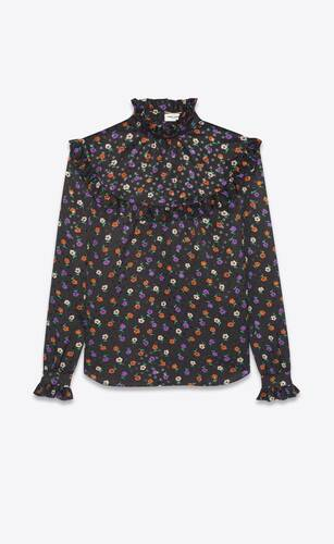 blouse in matte and shiny lamé floral silk