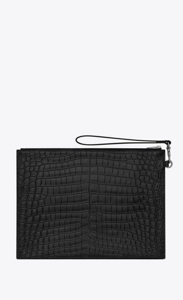 catherine tablet holder in crocodile-embossed matte leather