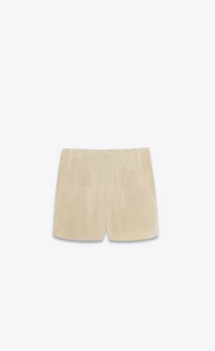 high-rise pleated shorts in vintage suede
