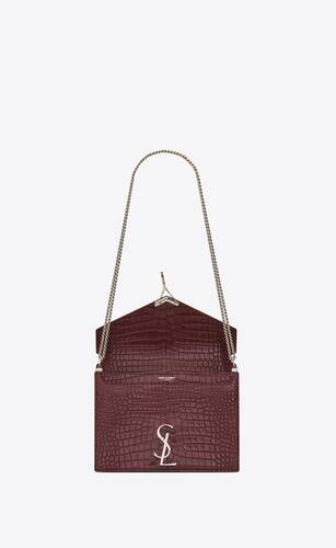 cassandra monogram clasp bag in crocodile embossed shiny leather