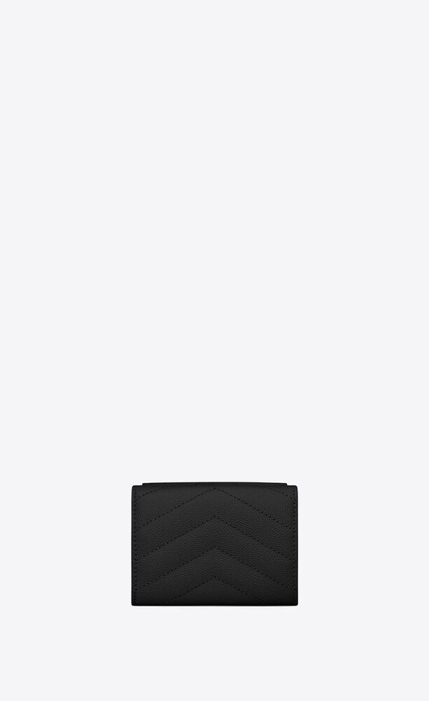 monogram saint laurent wallet in grain de poudre embossed leather