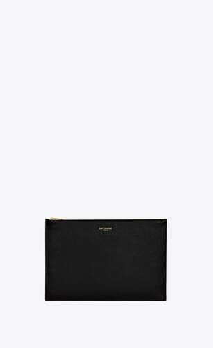 saint laurent medium flat pouch in shiny leather